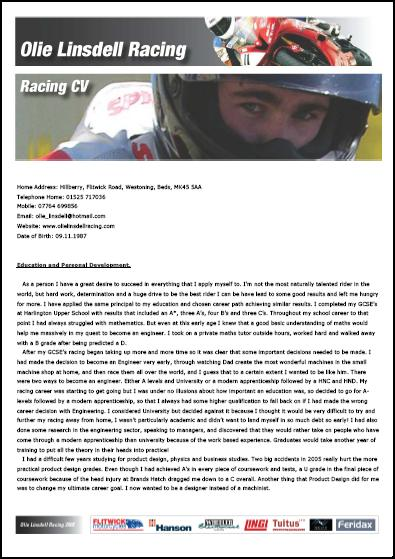 Olie Linsdell Racing Personal Development CV 2009