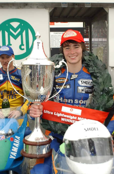 Olie Linsdell  Isle of Man  Manx GP 2007 with Ultra lightweight winners cup