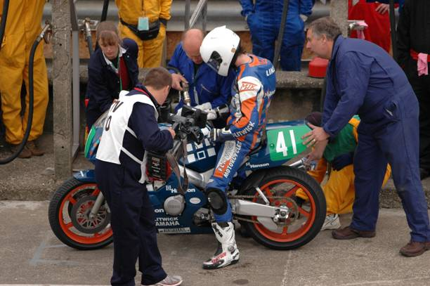 Olie Linsdell Isle of Man Manx GP pit stop on route to win number one